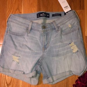 Hollister light wash low rise shorts